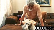 Old and Young Teen Blonde Fucked by Old man tig...
