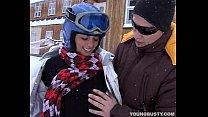 Brunette Teen Ora Taking A Fat Phallus In Snow