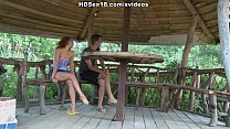 Curly girl in the hot outdoor deep penetration sex action thumbnail