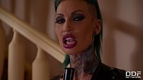 Tattooed nympho Calisi ink bangs her pussy with...
