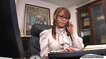 Hinata Komine having a tele-meeting where she m...
