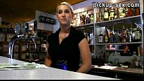 Hot blonde bartender gets pussy banged good for...