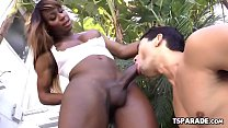 Black Tgirl Chastity Michaels Gets Her Cock Sucked