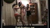 two hot girls kick and knee guy s nuts