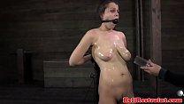 Ballgagged BDSM fetish sub tits pumped porn videos
