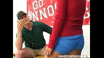 Beautiful Alan Leigh gets blasted with her coac...
