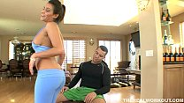 busty brunette babe getting her pierced pussy fucked hard by her fitness trainor
