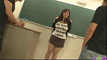 Plump and busty student fucked by two hung and ...
