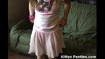 Petite teen Kitty flashing her panties in a tin...