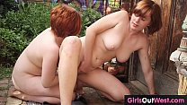Cute redheaded lesbians with hairy pussies meet...