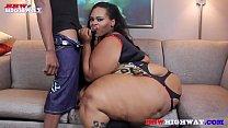 Big Butt SSBBW Red Thunda does her first porn