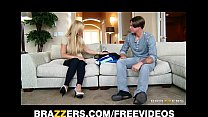 Single blonde mom Amber Lynn rides her son in l...