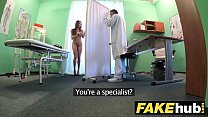 Fake Hospital Tall brunette patient with big na...