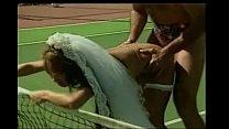 Asian bride on a tennis court