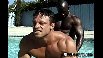 fucking anal gay poolside Interracial