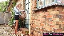 Skinny amateur blondie outdoor toying thumb