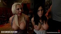 Bald man sexually punishes two lesbians in a co...