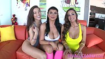 SWALLOWED Horny Abigail, Romi and Kalina threew...