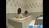 Japanese doll blows cock in the tub and swallows a warm load porn videos