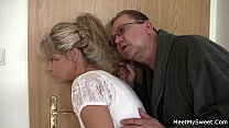 He leaves and old couple fuck teen
