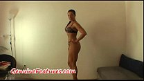 Real czech busty brunette at the casting