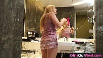 Girls Out West - Hot busty blonde plays with ra...