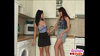 two brunettes lick pussy and tits into some lesbian action