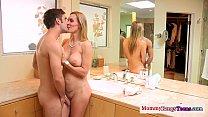 Busty mature teacher watches deepthroat teen)