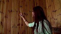 Mira Sunset Gives A Hot Blowjob Through A Sauna...