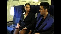 plane a on fucked gets uniform stewardess wearing beauty Brunette