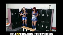 Two HOT lesbian cheerleaders start an orgy in t...