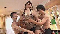 Three guys get a japanese girl blow job from Saki Aoyama porn videos