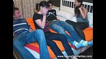 roommates fuck two chicks karina dominica on a large bed