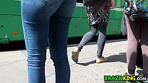 brazilian with a butt in tight jeans
