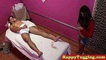 Real jap masseuse rubs customers dick