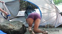 two amateur babes foursome party outdoor at camping