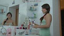 Intense bathroom fucking with teenage pussy cum...