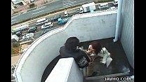 Splendid Japanese brunette gets drilled outdoors