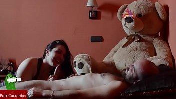 Teddy bear girl forced to suck dick
