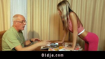 Materialist young blonde fucking grandpa for money