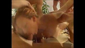 Sluts wet throat and cunt get hammered hard