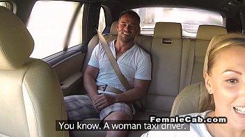 Huge natural tits cab driver fucks in public