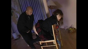 Cute Japanese schoolgirl squeezing dick with her pussy