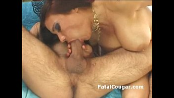 Busty cougar titty fucks fat dick and gets pussy drilled with pussy2mouth
