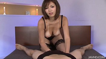 Sexy tanned mai kuroki in bed playing with a horny guys cock making hi..