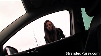 Stranded teen gina devine hitch hikes into a car and gets fucked in th..