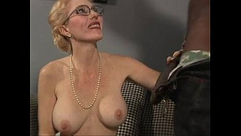 Very hot busty blonde MILF takes large black penis in her hungry pussy