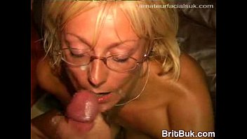 Uk milf jade swallows gets cum on her glasses