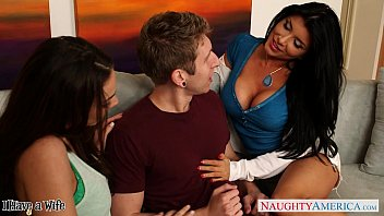 Naughty babe romi rain share a big cock with a lesbian
