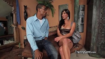 Shemale beauty fucked by black cock